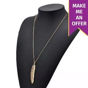 Gold Long Feather Sweater Necklace